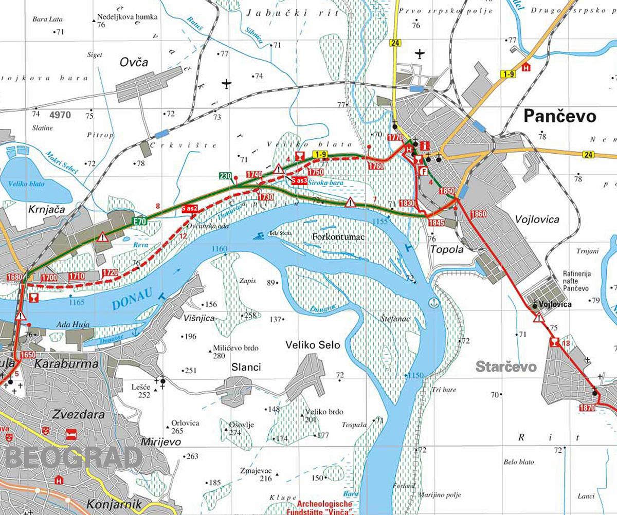 Turistcka Organizacija Panceva Mapa Biciklisticka